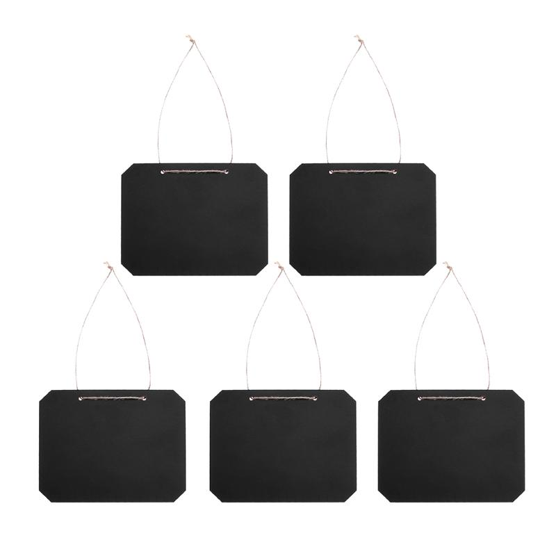5Pcs Mini Wooden Hanging Blackboard Message Memo Chalkboard Home Event Party Decor Small Black Board School Supplies dual side blackboard and whiteboard chalk set mini wall mount black board wooden zakka home decoration school supplies 6520