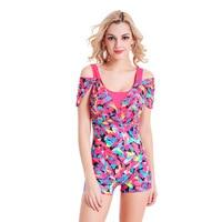 Digital Printed Women Bodysuit Sports Slimming One Piece Swimsuit Professional Athletic Swimwear Bathing Suit Swim Ari