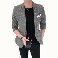 Spring summer new men's suit jacket thin style youth slim Half sleeve Blazers male Korean version fashionable plaid suit