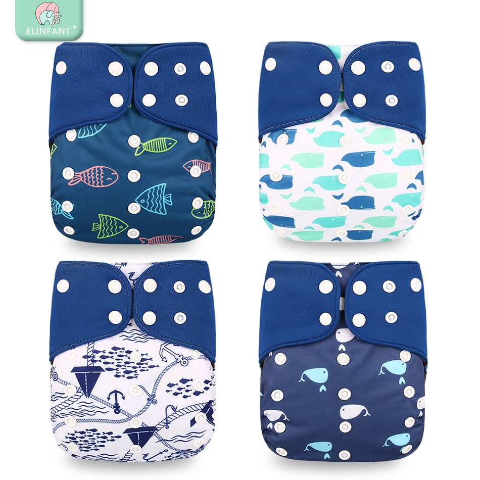 Elinfant 2019 New 4pcs/set Washable Coffee Mesh Cloth Diaper Cover Adjustable Nappy Reusable Cloth Pocket Diapers Freeshipping(China)