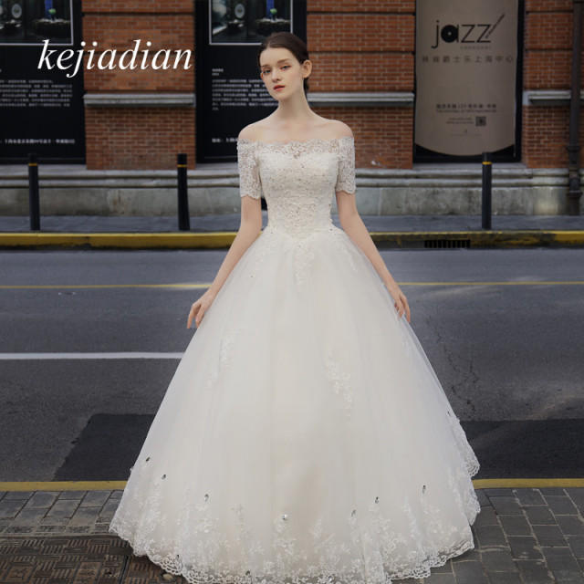 Bridal Gowns Vintage Lace short Sleeve boat neck Wedding Dress 2018 ...