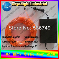Bar decoration colorful el wire 2.3mm 100m Orange Flexible Neon Glow Light EL Wire Rope+220V Inverter With Free shipping