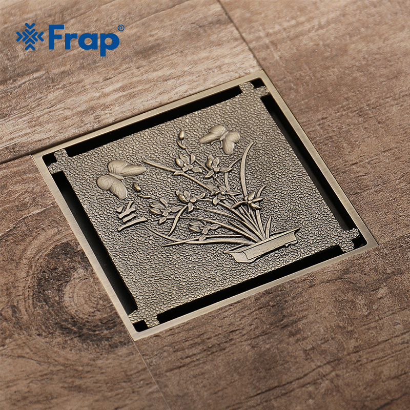 Frap Euro Drains 10*10cm Antique Brass Shower Floor Drain Bathroom Deodorant Square Floor Drain Strainer Cover Grate WasteY38069 drains 10 10cm antique brass shower floor drain cover euro art carved bathroom deodorant drain strainer waste grate hj 8507s