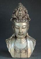 Old Chinese Tibetan silver hand made Avalokitesvara GUANYIN statue