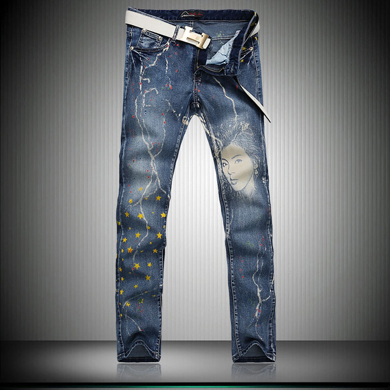 ФОТО Youth Night Club Denim 3D Printed Jeans Slim Fit Painted Korean Fashion Denim Joggers Pants For Young Men