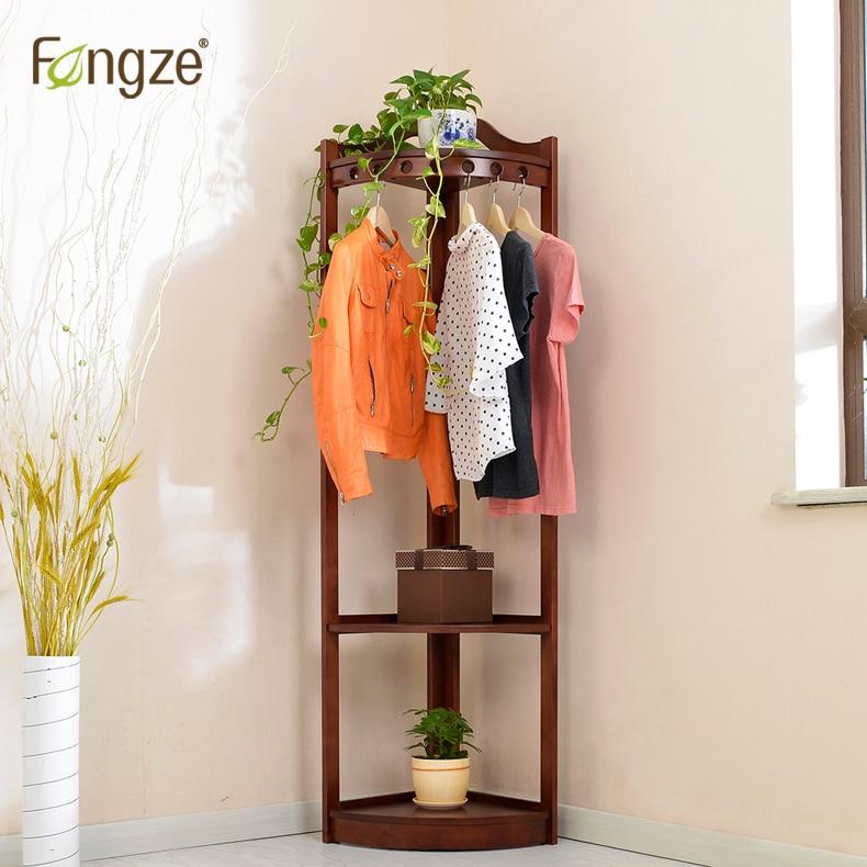 FengZe Furnishing FZ931 Cloth Hanger Hat Rack Plants Display Solid Wood Living Standing Hanger Scarves Hat Bag Clothes Shelf