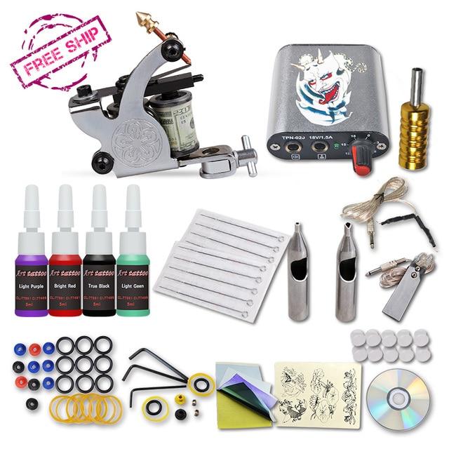 Complete 1 Tattoo Machine Gun 4 Color Inks Power Supply Set Beginner Tattoo Kits