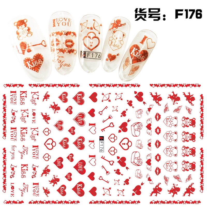 Купить с кэшбэком 1 Sheet 3D Romantic Red Kiss Heart Cupid Love Arrow Pattern Adhesive Nail Art Stickers Decorations DIY Salon Tips F176#