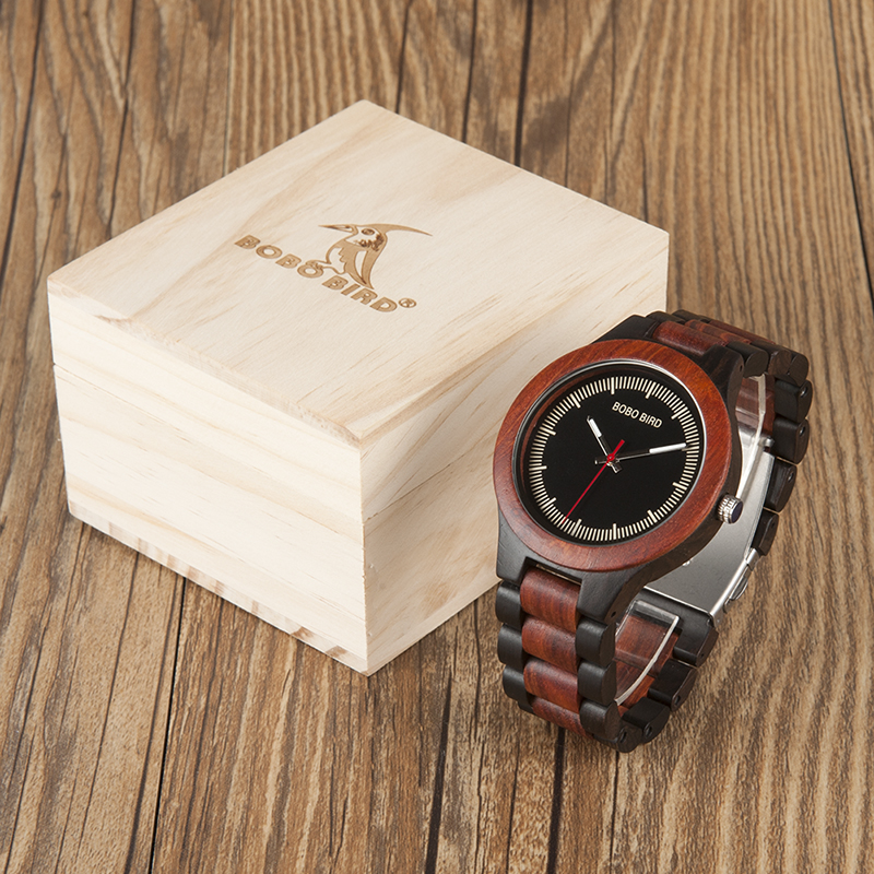 BOBO BIRD Luxury Wood Band Watches Men Style Handmade Natural Wooden Wrist Watch in wood Gifts Box relogio masculino B-O01 bobo bird new luxury wooden watches men and women leather quartz wood wrist watch relogio masculino timepiece best gifts c p30