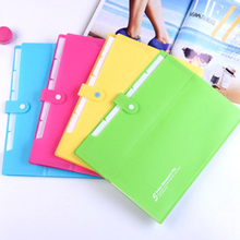 A4 Floder Layers Document Bag Waterproof Zip Pen Filing Products Pocket Folders Pink Green Blue Yellow Office & School Supplies