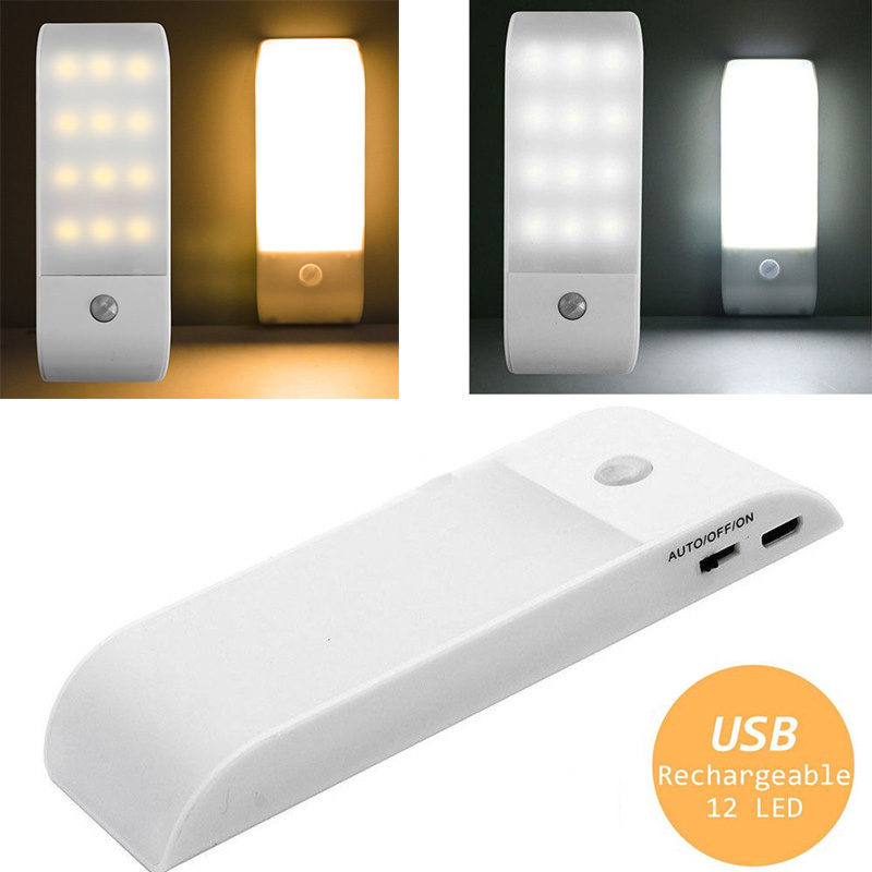 12LED USB Rechargeable PIR Motion Induction Sensor Night Light Closet Wardrobe Cabinet Lamp 3 Modes W/Magnetic Night Lamp four leaf clover pir motion sensor led night light smart human body induction novelty battery usb closet cabinet toilet lamps