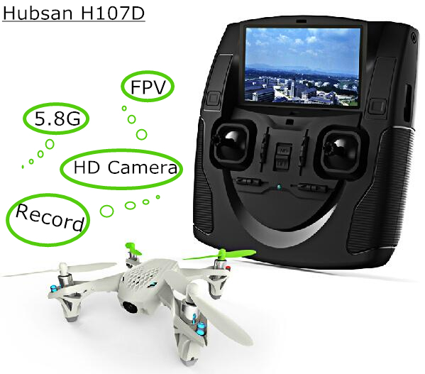 Hubsan X4 H107D FPV RC Quadcopter drone Live Streaming De Audio Y Vídeo Transmis