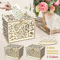 Rustic DIY Wedding Wooden Box Mr Mrs Wedding Sign Card Box Flower Gifts Holder Wedding Decoration Party Supplies with Lock