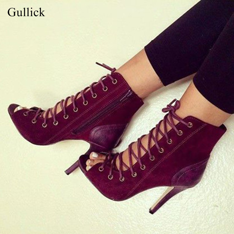 Big Size 13 Wine Red Women Lace-up Ankle Boots Peep Toe Cut-out Gladiator Sandals Boots Sexy Thin Heels Side Zipper Dress Shoes цена 2017