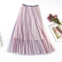 Magic Color Patchwork Large Swing Women Skirt Fresh Literary Elegant Bottoming Skirts Retro A Word Fairy Saias Faldas Jupe