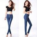 Algodão elástico rasgado calças lápis mulheres calças de brim estilo Coreano qualidade da moda calças jeans de cintura alta single-breasted magro cowboy D35