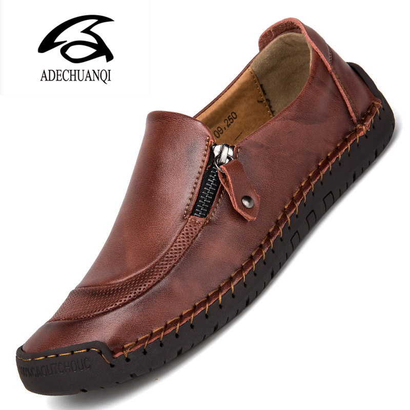 Men's Leather Casual Shoes Handmade Loafers Vintage Moccasin Slip On Rubber Flats Anti-skid Zip Opening Plus Size 38-48