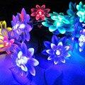 16ft 20 LED Duplo de Lótus Luzes Da Corda Solares À Prova D' Água Ao Ar Livre para Jardim Cerca Pátio Paisagem Caminho da Festa de Casamento de Natal