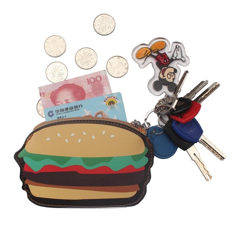 Creative Cute Cartoon Coin Purse Key Chain For Girls PU Leather Icecream Cake Popcorn Kids Zipper Change Wallet Card Holder bags