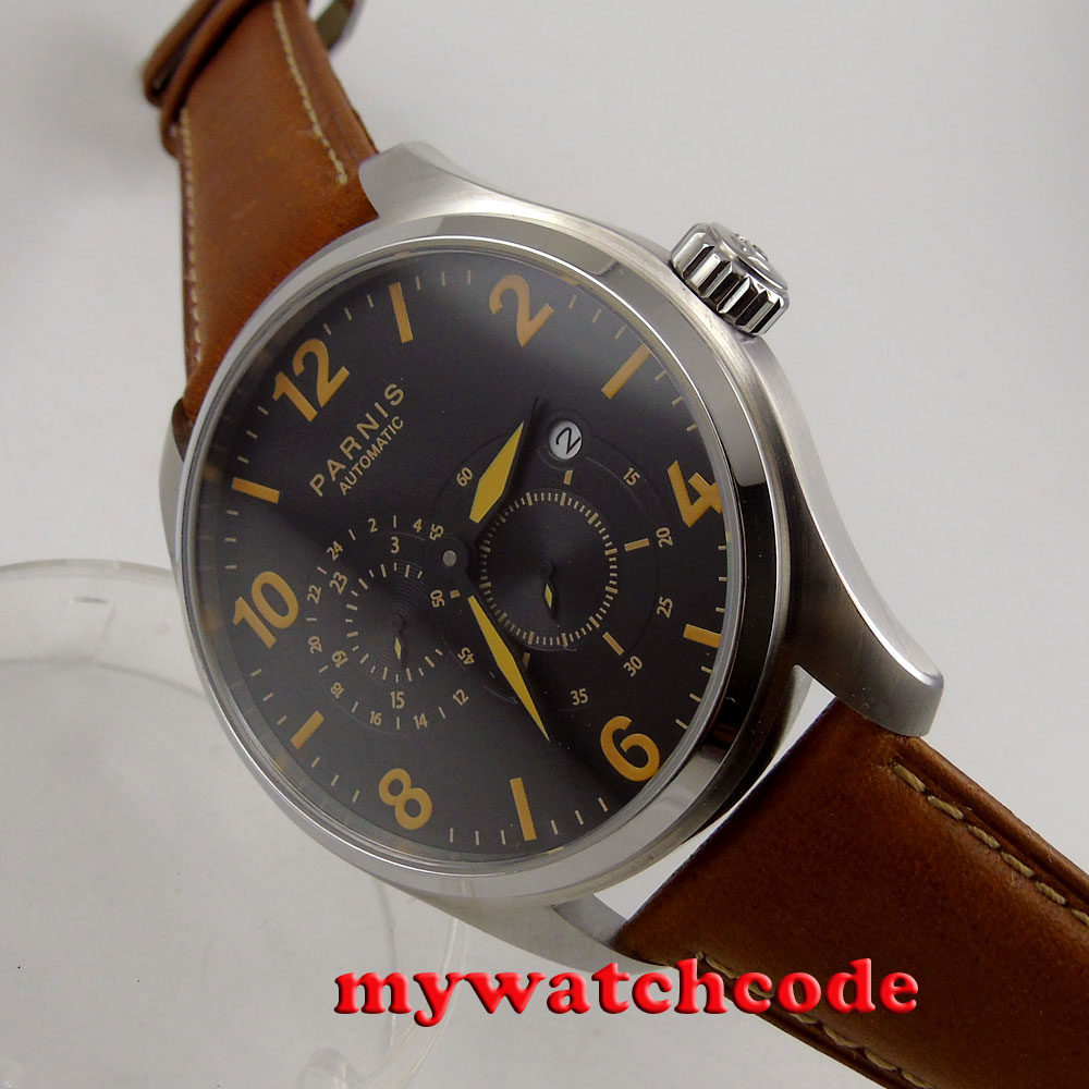gorgeous 44mm Parnis black dial date window 21 jewels automatic mens watch P897 цена