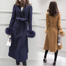 2016 New Winter Elegant Big Lapel Temperament Woolen Jacket Fashion Bow Belt Slim Long Wool Woolen Coat Outerwear S-XXL A1876