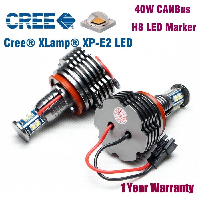 2 X H8 40W Cree chip LED Halo Bulbs Headlights Super Bright White Angel Eyes Lamps for BMW E91M3 E92 E60 E61 E63 E64 E70 E71 E84