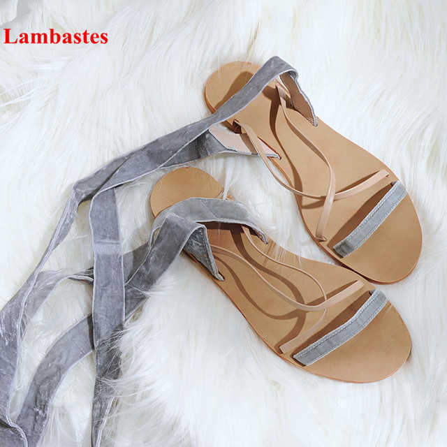 d257d80654f76 Rome Cross Ankle Strap Round Toe Flat Comfortable Women Sandals Op en Toe  Solid Concise Narrow Band Summer Beach Casual Sandals