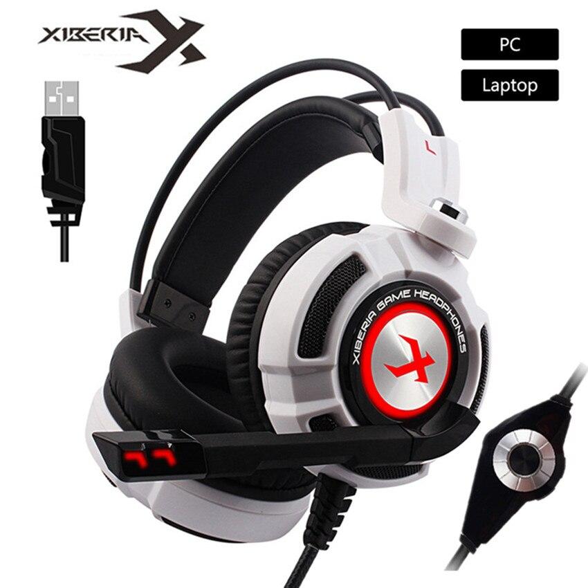 XIBERIA K3 USB Cuffie Gaming Virtuale 7.1 Surround Sound Stereo Bass Auricolare con Microfono Vibrazione LED per Computer Gamer