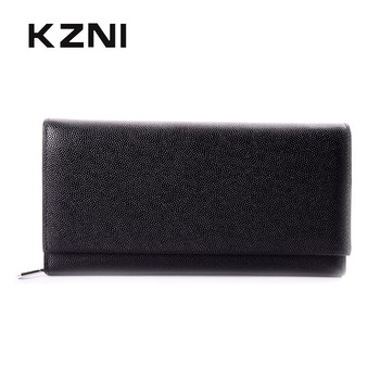 KZNI Long Large Genuine Leather Phone Wallet Female Coin Purse Womens Wallets and Purses Women Card Holder Portomonee 9023