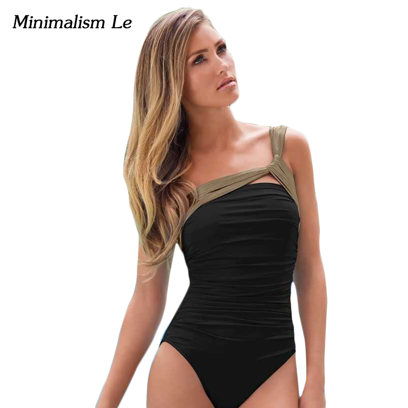 Minimalism Le One Shoulder Bandage One Piece Swimsuit Monokini 2018 Sexy Solid Women Swimwear Maillot De Bain Bathing Suit BK782 silicone rubber watch band 17mm 18mm 19mm 20mm 21mm 22mm 23mm 24mm universal watchband strap wrist belt bracelet
