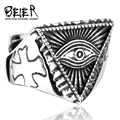 BEIER Stainless Steel Man's All-see Eye Ring For Men Fashion Cool Man's Cross Eye Open Ring Vintage Punk Style BR8-176