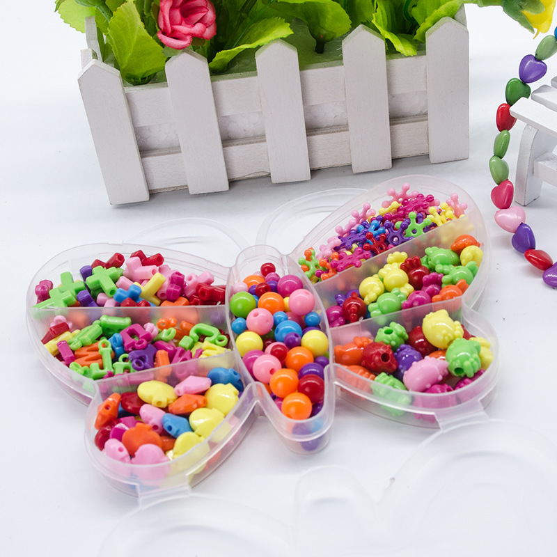 Beads Toys For Children Lacing Jewelry Necklace Girl Gift Butterfly Needlework Kids Material Learning Education Creativity Toy