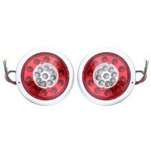 1Pair 19LED Chrome Tai Lights Stop Turn Signal Reverse Light for 12V 24V Car Truck Trailer