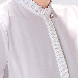Image 5 - موضة جديدة المرأة قميص رسمي الأعمال ضئيلة الوقوف طوق بلوزة شيفون طويلة الأكمام الإناث أبيض رمادي زائد مكتب القمم