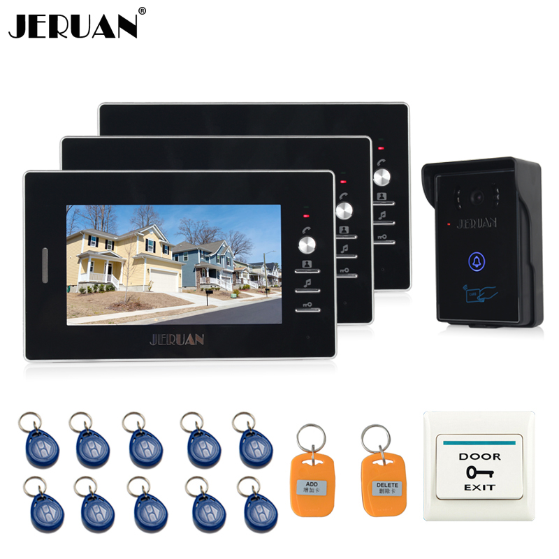 JERUAN NEW 7`` Video Intercom Entry Door Phone System 3 monitors + 700TVL Touch Key Waterproof RFID Access Camera FREE SHIPPING jeruan home wired 7 lcd video door phone intercom system 700tvl rfid waterproof touch key password keypad camera free shipping