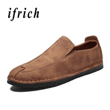 Купить с кэшбэком Spring Autumn Men Shoes Black Brown Man Casual Shoes Comfortable Mens Slip On Shoes Low Top Split Leather Shoes For Male