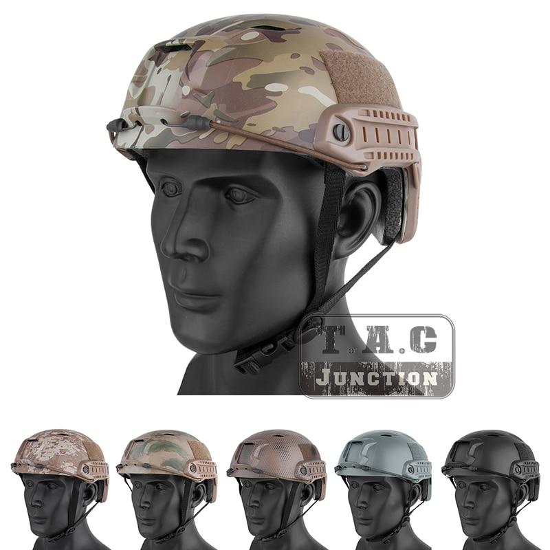 EMERSON PJ Type Bump Jump Fast Helmet Tactical Lightweight Helmet w NVG Side Rail Shroud for