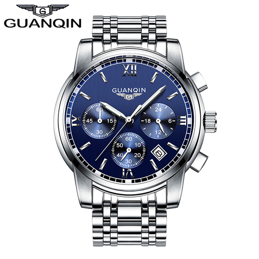 ФОТО GUANQIN GS19018 2017 New Luxury Watch Brand Watch Men Steel Fashion Clock Male Waterproof Watches Complete Calendar