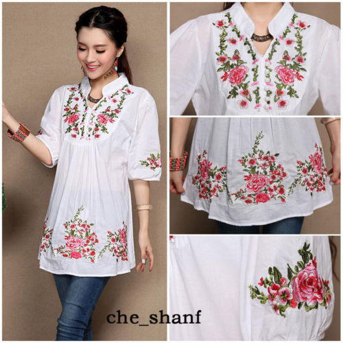 063cb7f947f5d Hot Sale Vintage 70s Women Ethnic Floral Embroidered Boho Hippie Mexican  Peasant White Gypsy Blouse Chic Tops Free Shipping-in Blouses & Shirts from  ...