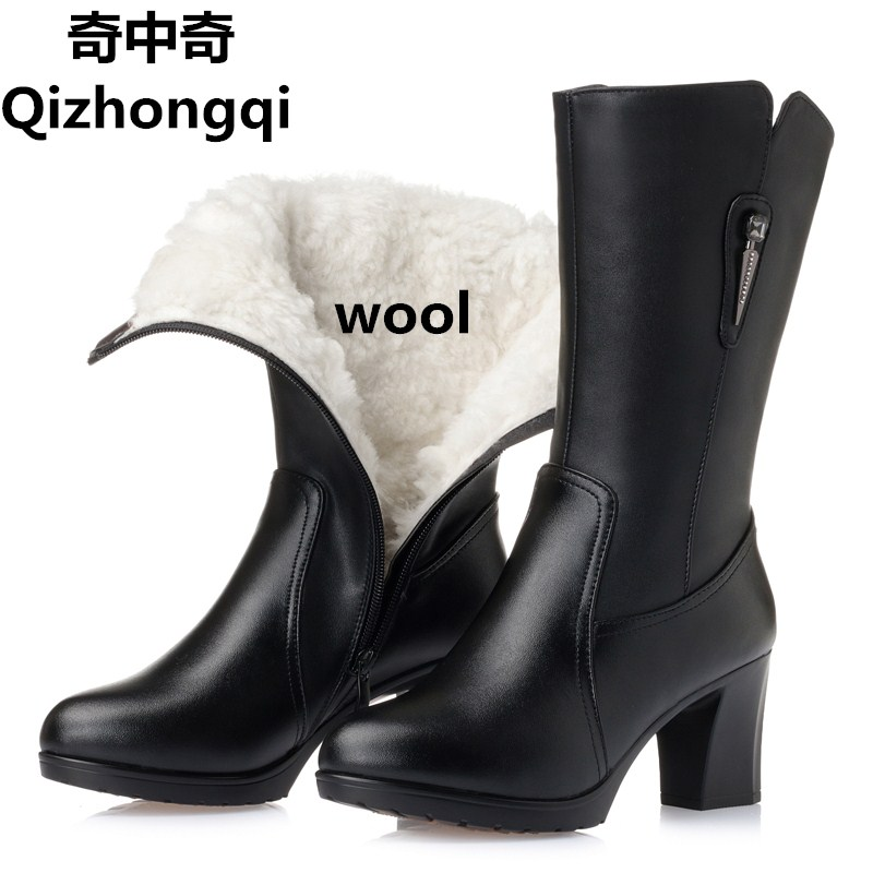 Plus size 35-43 # genuine leather boots women 2017 winter new thick wool lining warm cotton shoes snow boots women цены онлайн