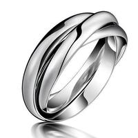 Silver Three In One Color Stainless Steel Women Rings