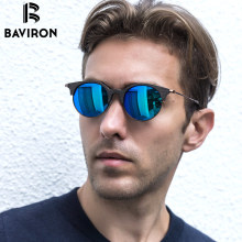 BAVIRON New Arrival Wood Grain Sunglasses Unisex Hand Making Retro Sun Glasses Metal Polarized Sunglasses Popular Eyewear 5034