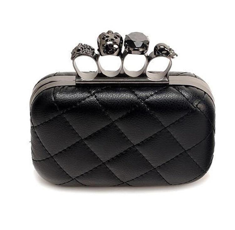 New 2017 skull ring woman evening bag Restore ancient ways plaid black woman clutch bag Ladies messenger bags free shipping