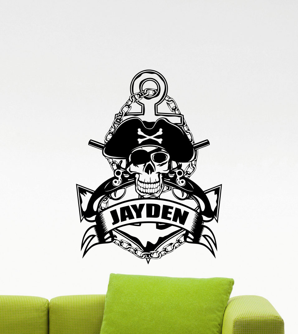 Personalized Pirate Anchor Wall Vinyl Decal Sea Nautical Custom Name Wall Stickers For Boys Room Baby Nursery Wall Art A494
