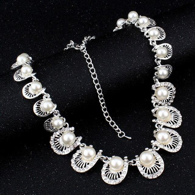 jiayijiaduo Simple Bridal jewelry sets Imitation pearl Silver color