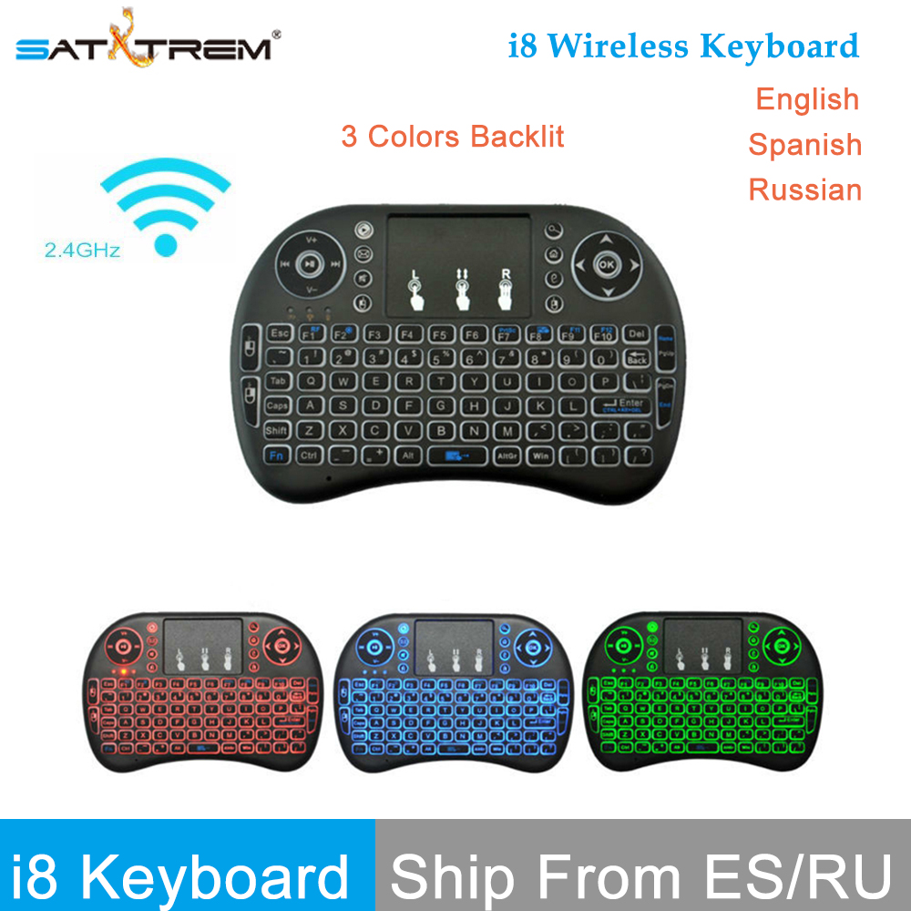 лучшая цена SATXTREM mini i8 2.4GHz Wireless Keyboard Spanish Russian Air Mouse Remote Control With Touchpad i8 Backlit For Android TV BOX
