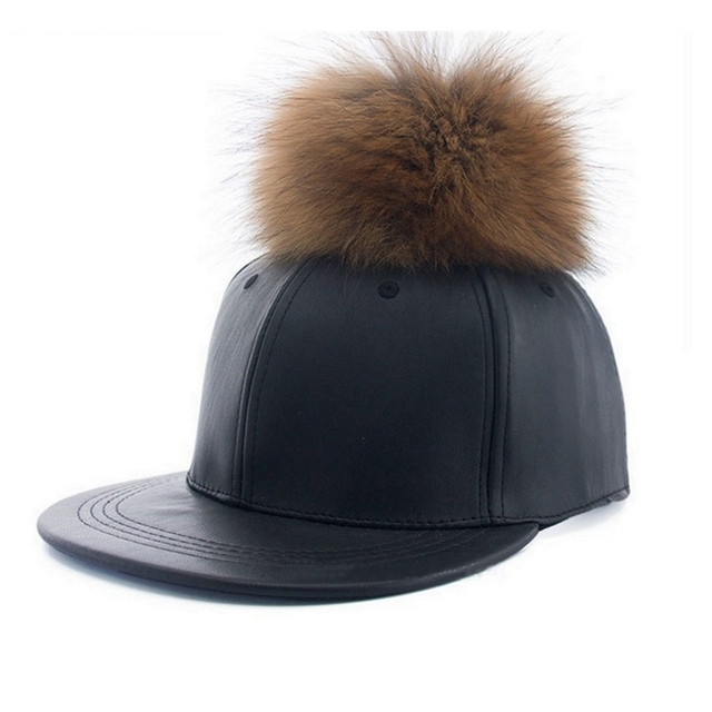 Winter Real Raccoon Fur Pompom Baseball Cap Women Pom Pom Hat Autumn Female Hats