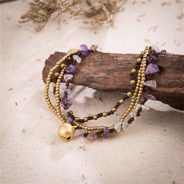 Женский этнический плетеный браслет amourjoux фиолетовые камни