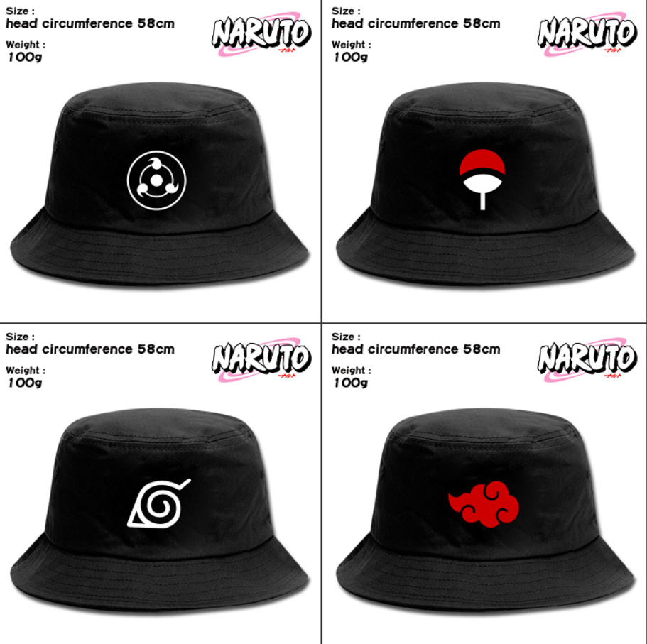 Anime Naruto Canvas Bucket Hat Unisex Fisherman Hat Outdoor Cap Hip Hop Cap Boonie Hat Travel Hat Sun Cap Summer Beach Cap