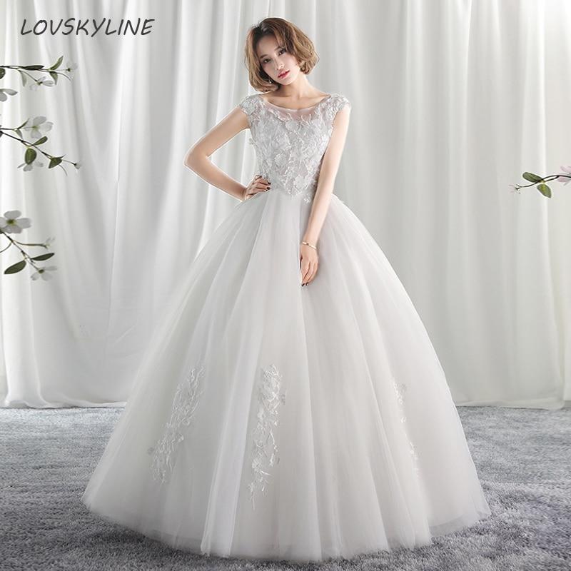 Korean Lace Sleeveless O-Neck Wedding Dresses  New Fashion Elegant Princess Pearls Appliques Gown Customized Bridal Dress
